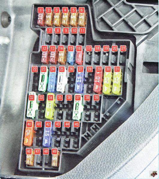 Монтажный блок, установленный в салоне автомобиля Шкода Октавия А5